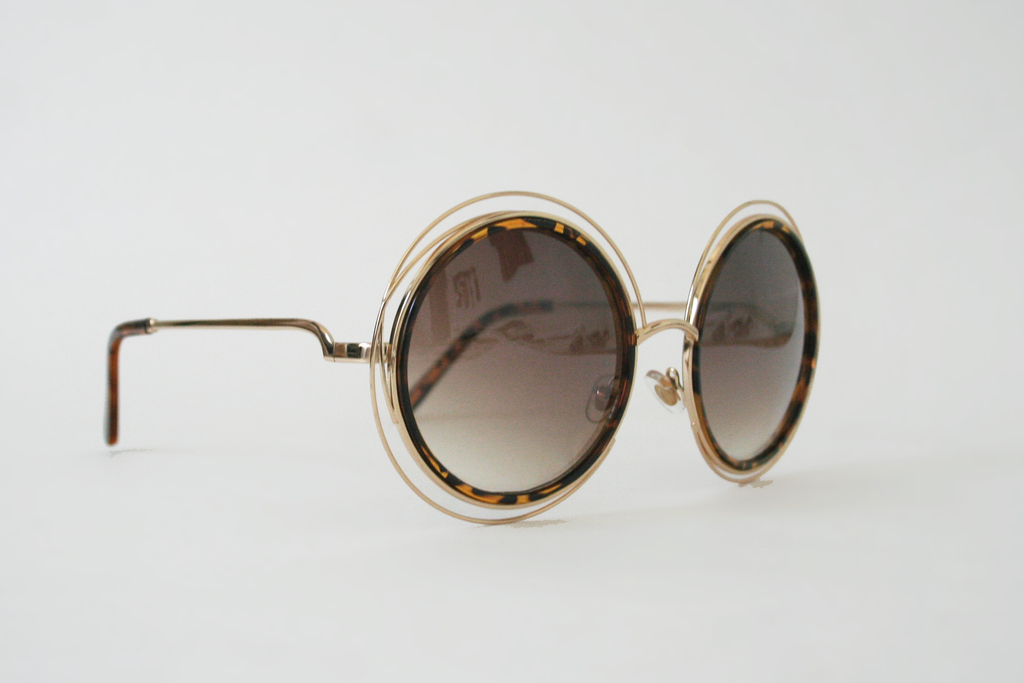 Wireframe Enameled Sunglasses: Tortoise/Gold