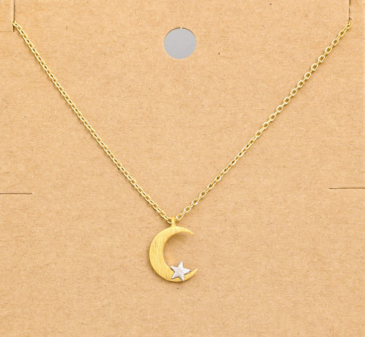Crescent Moon and Star Dainty Necklace