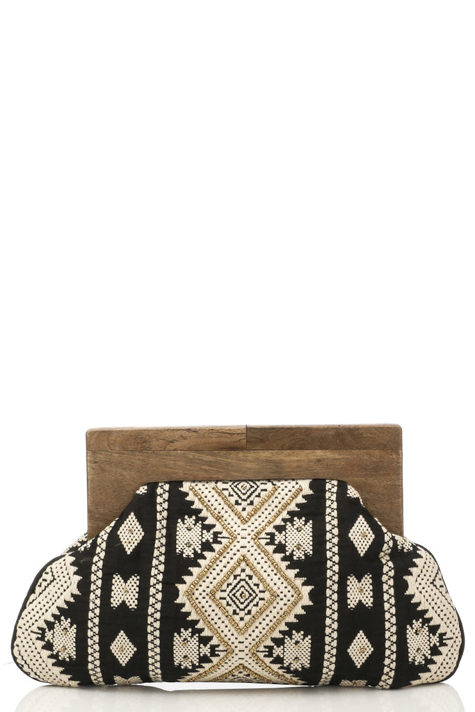 Wood Frame Eclectic Embroidery Clutch