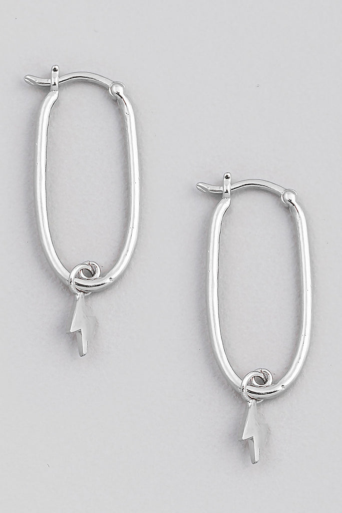Lightning Bolt Hoop Earring In Silver