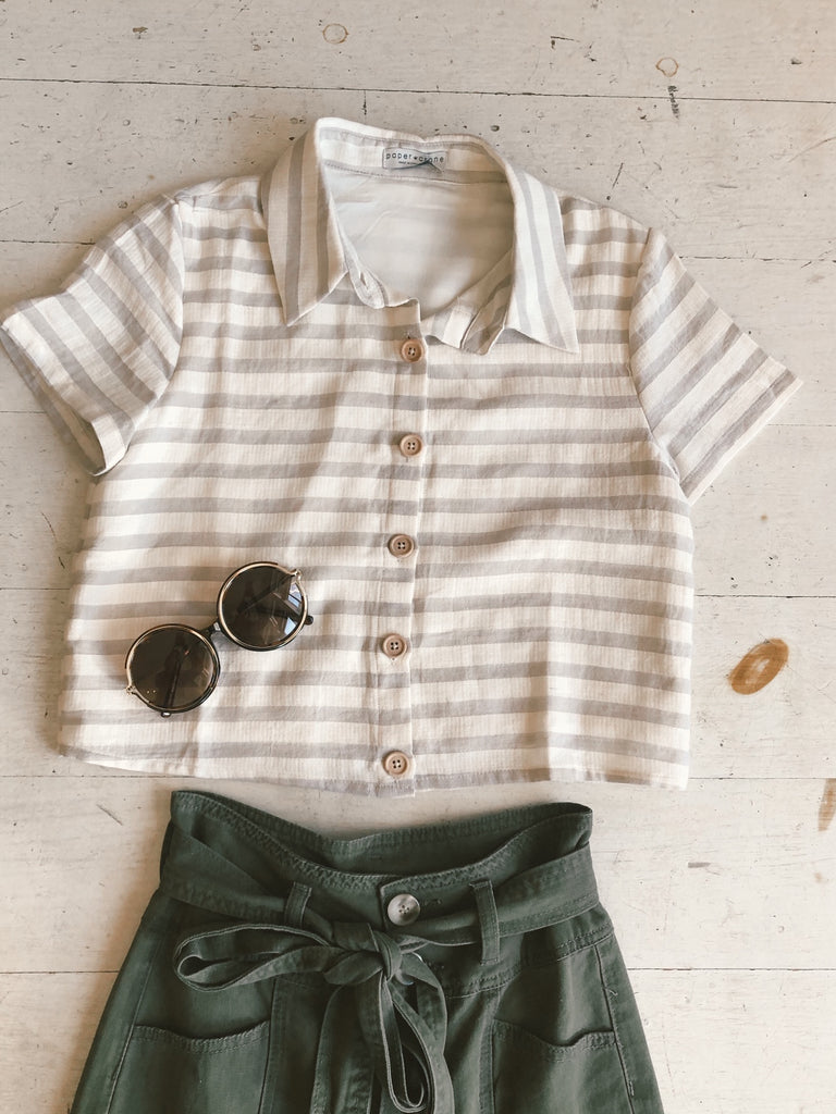 Chic Summers Linen Striped Button Down Semi Crop Top