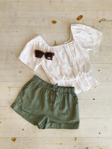 Denim Overall Skirt In Olive