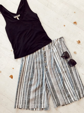 Striped Crop Tank (Navy)