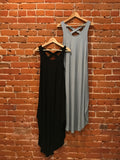 Crossback Soft Jersey Dress (USA Made, 4 Colors) Black,Olive,Brick,Grey