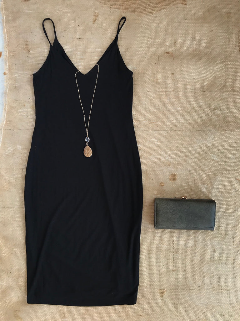 Softest Jersey Double Layer Black Cami Dress (USA MADE)