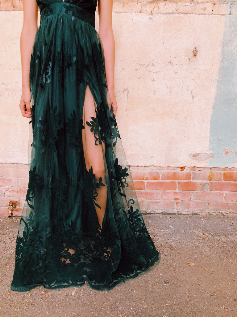 Enchantress Monochrome Floral Gown in Emerald Green