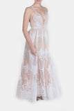 Enchantress Monochrome Floral Gown in Nude and White