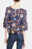 Whimsical Floral Flutter Sleeve Blouse in Navy