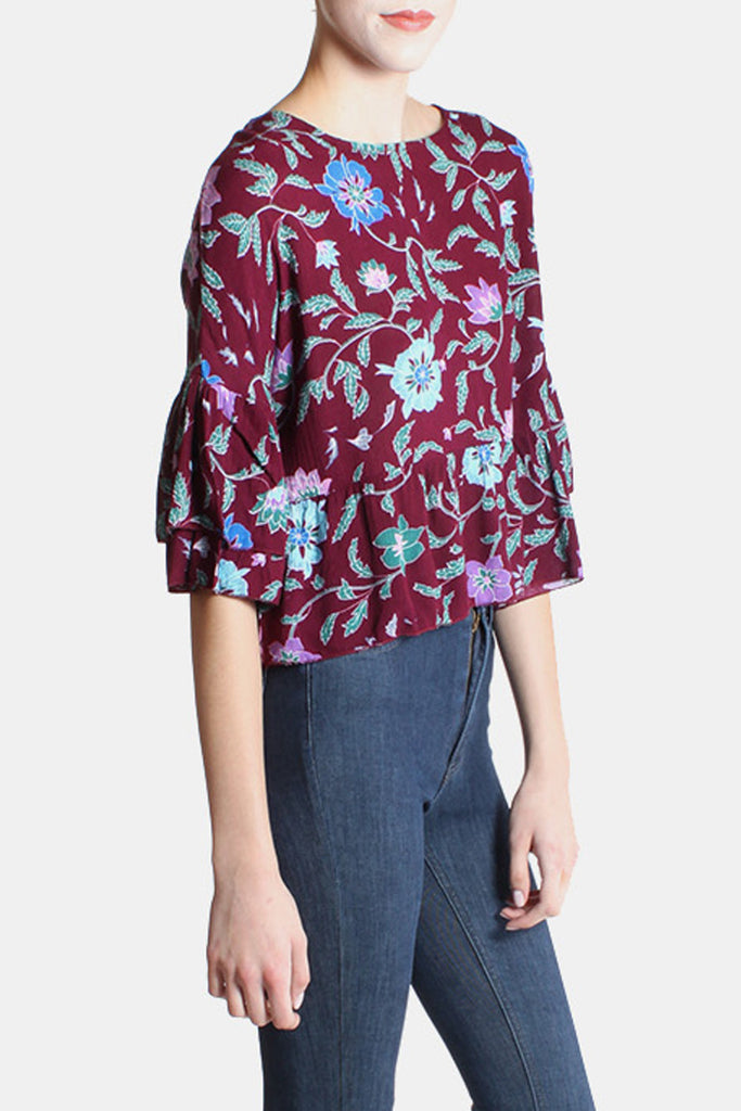 Whimsical Floral Flutter Sleeve Blouse in Wine