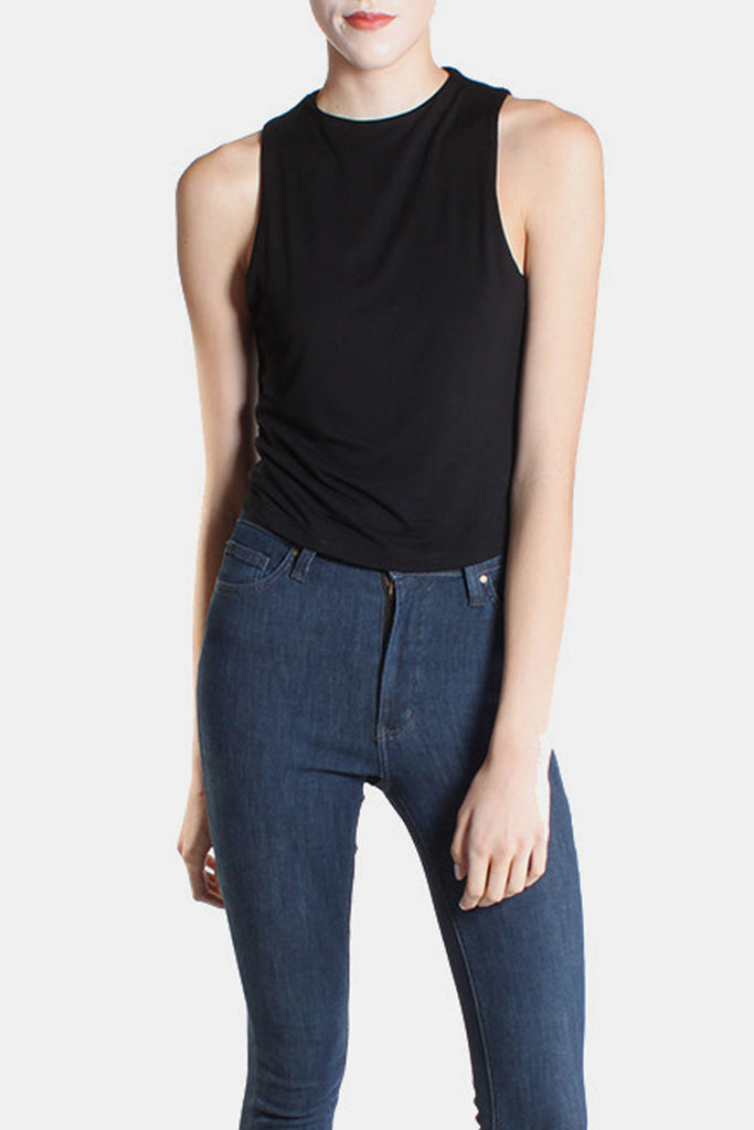 Ultra Soft High Neck Crop Top in Black
