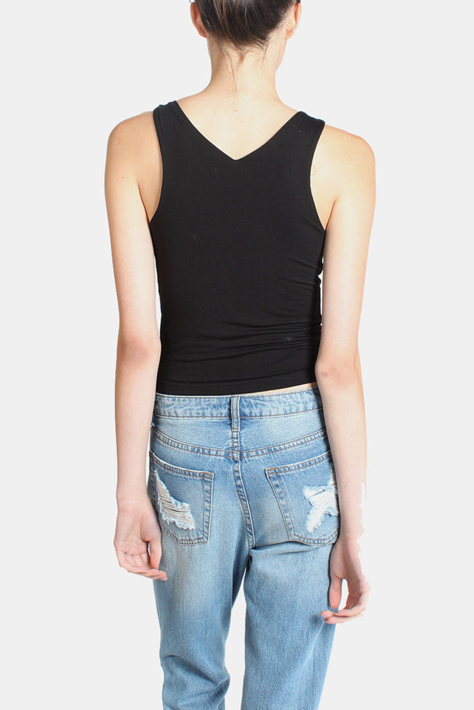 Essential Double Layer Ultra Soft V Neck Crop in Black