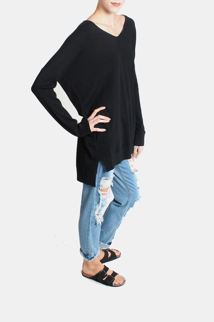 Ultra Soft V Neck Sweater Top in Black