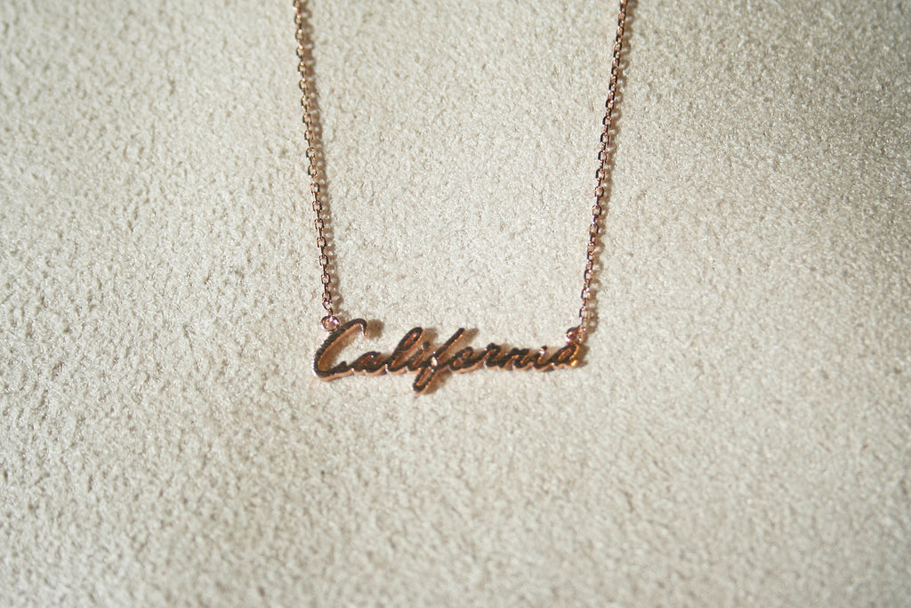California Cursive Dainty Nameplate Necklace: Rose Gold