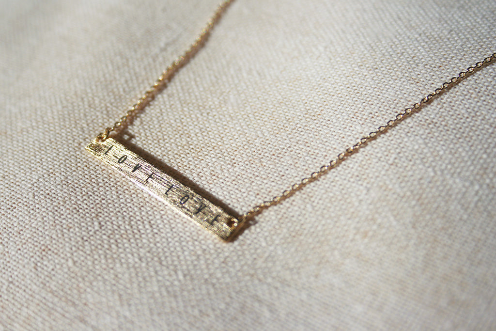 """Love Love"" Dainty Etched-Bar Necklace"