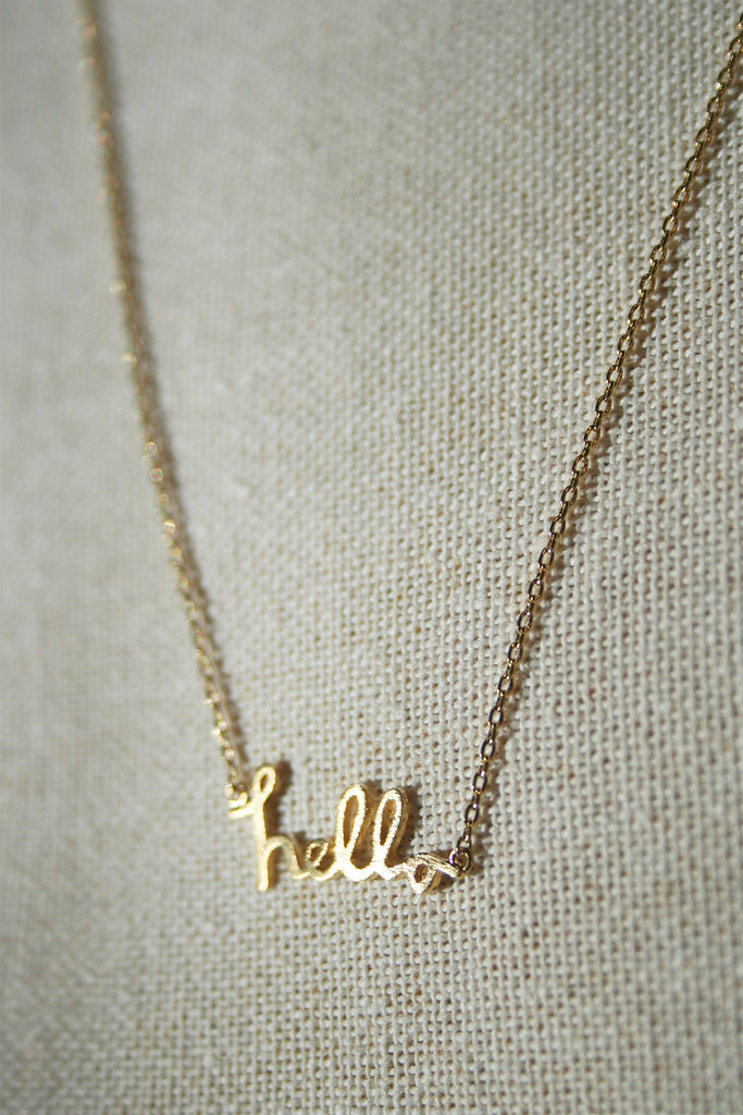 Hello Cursive Dainty Necklace