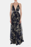 Enchantress Floral Gown in Navy