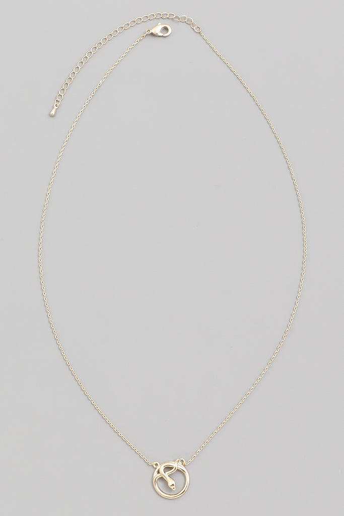 Dainty Circle Snake Pendant In Gold