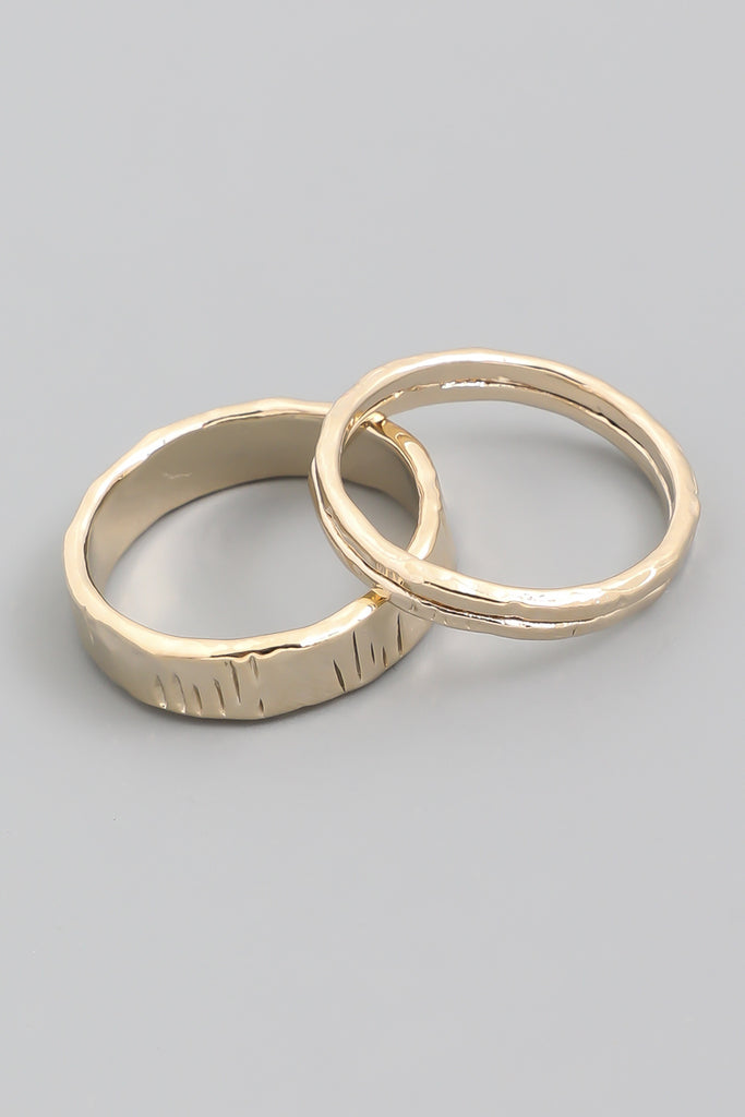 Hammered Gold Ring Set (2 Pieces)