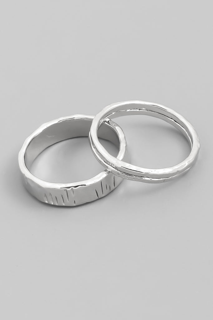Hammered Silver Ring Set (2 Pieces)
