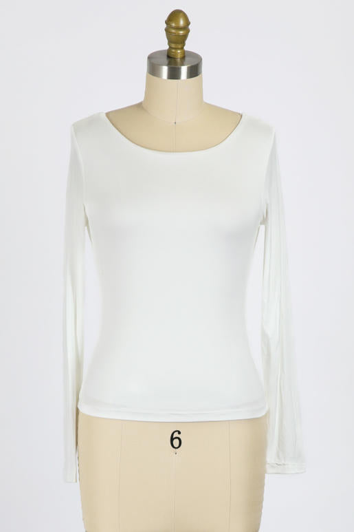 Double Layer Perfect Fit Long Sleeve Scoop Tee 3 Colors