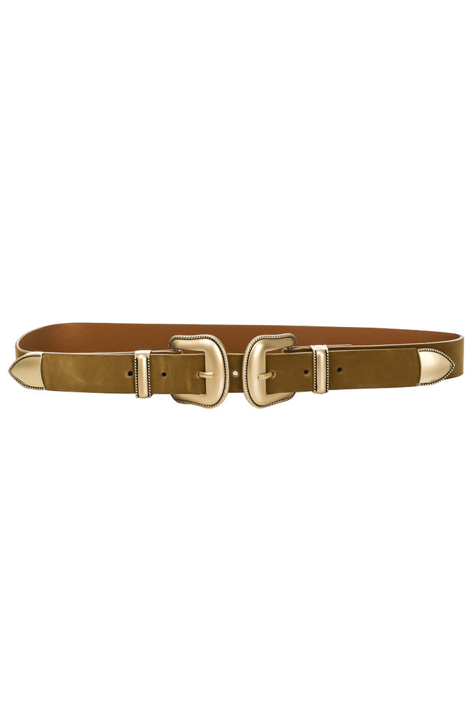 Double Buckle Vegan Leather Belt In Brown