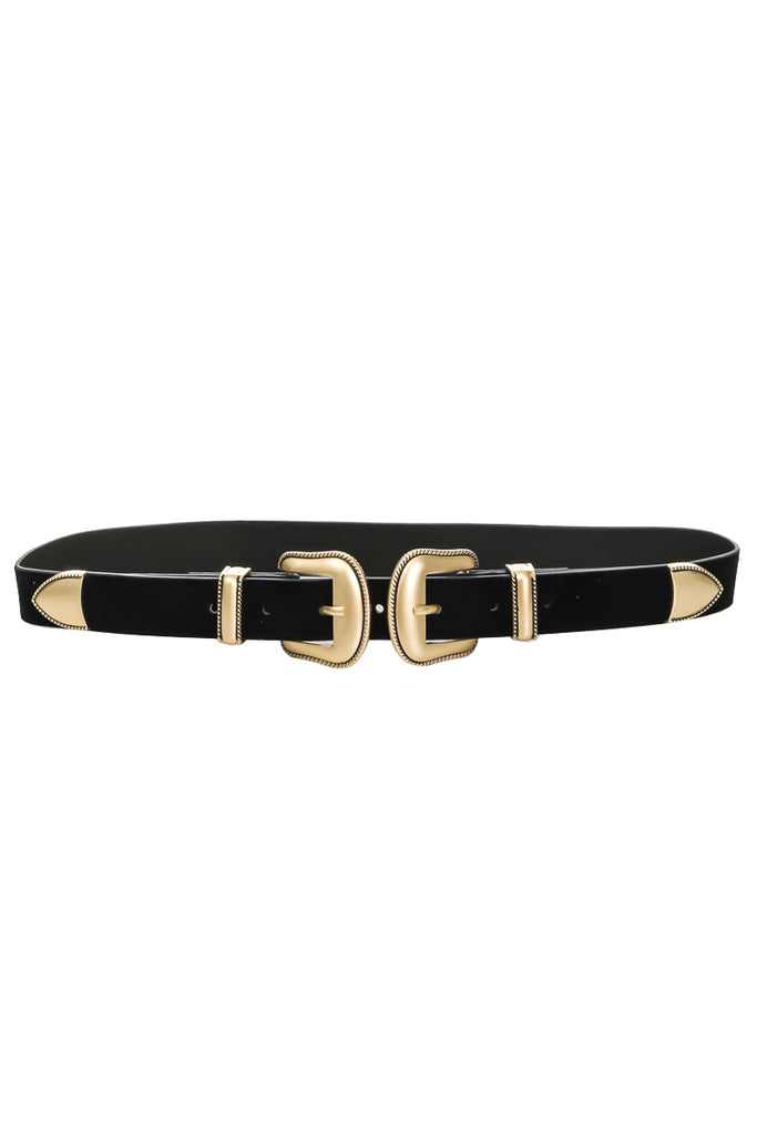 Double Buckle Vegan Leather Belt