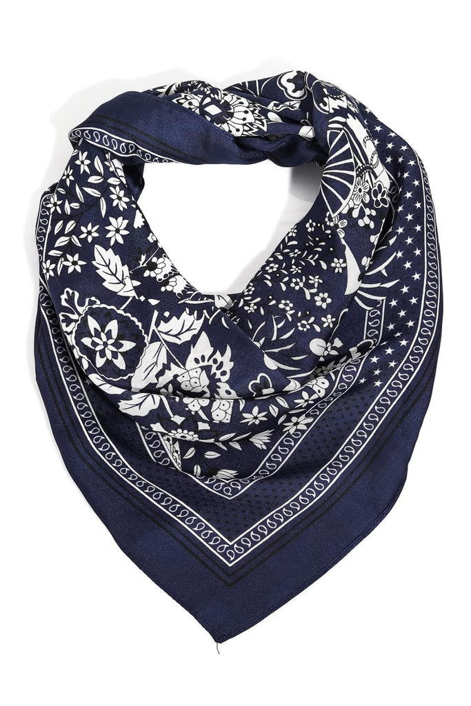 Vintage Floral Print Bandana Scarf In Navy Blue