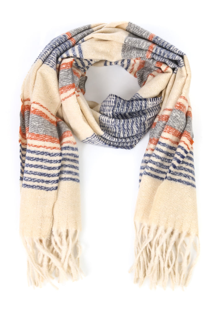 Boho Soft Striped Tassel Scarf Rust/Cream/Navy