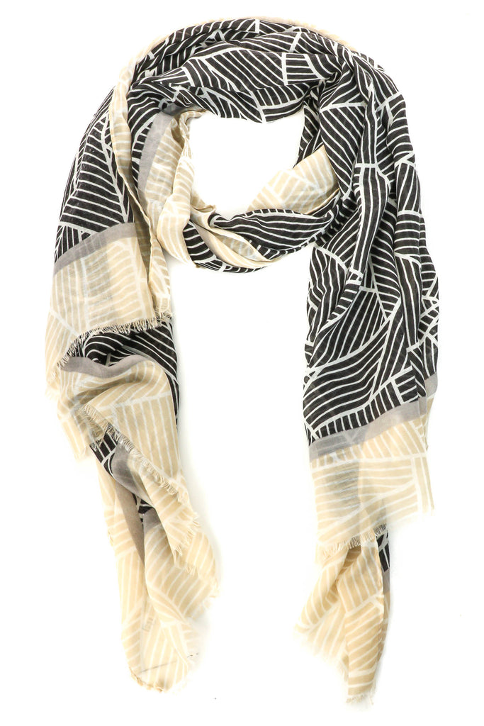 Abstract Print Lightweight Layering Scarf In Black/Ivory