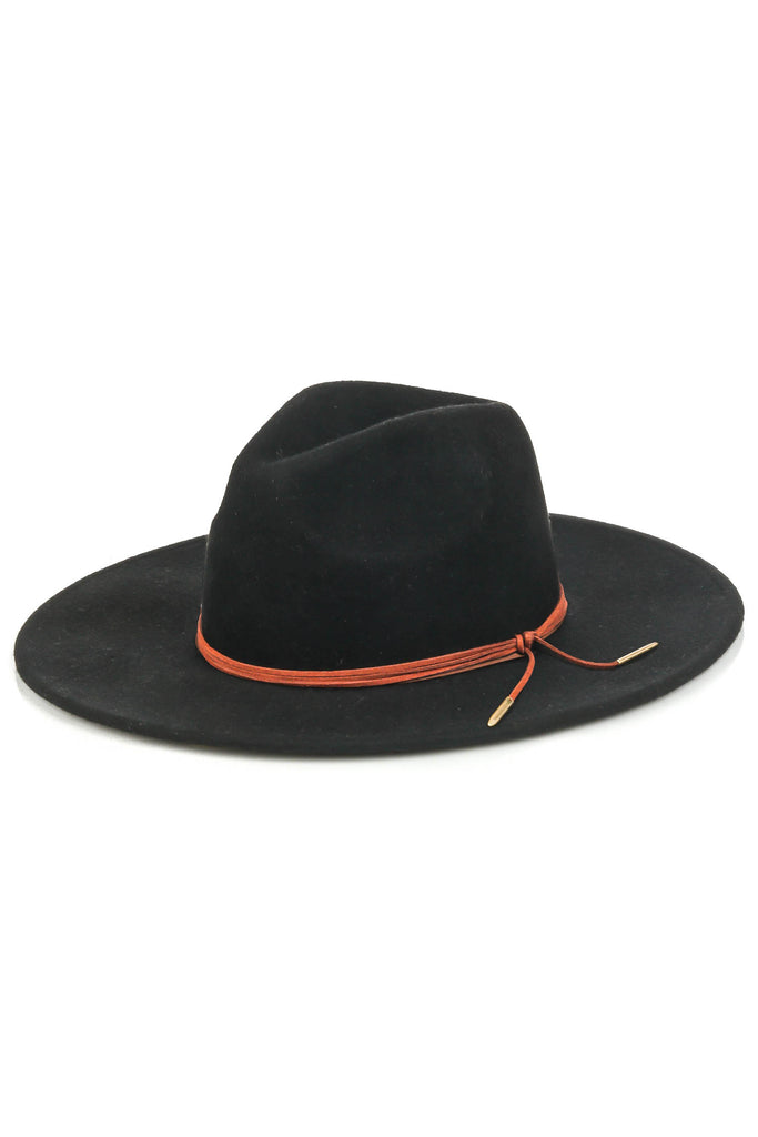 Sierra Hat With Tie Brim Detailing In Black