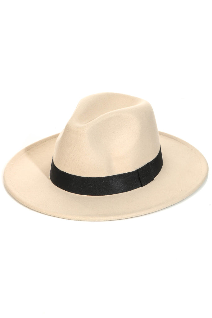 Classic Flat Brim Fedora With Ribbon Detailing In Ivory