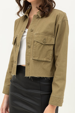Cropped Canvas Jacket In Rust