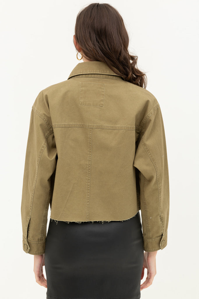 Cropped Canvas Jacket In Olive