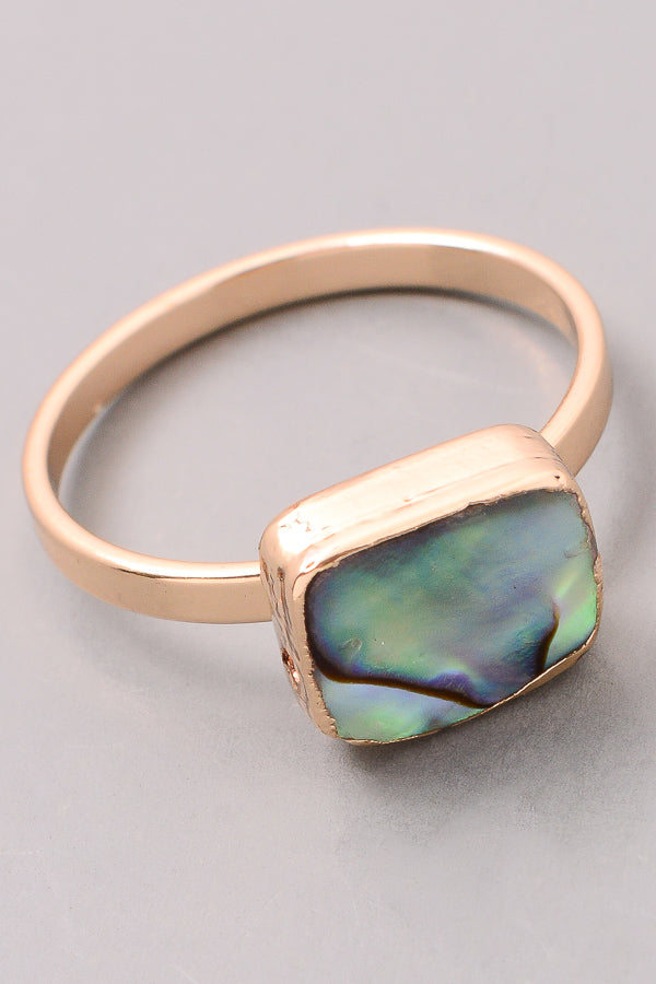 Natural Beauty Abalone and Gold Tone Ring