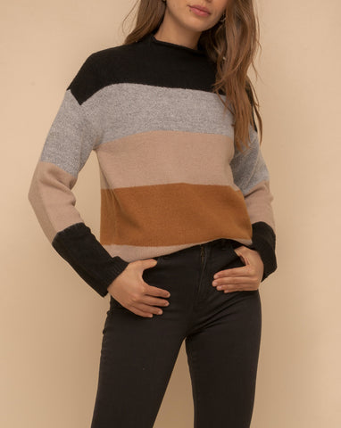 Oui Oui Classic Striped Sweater In Black