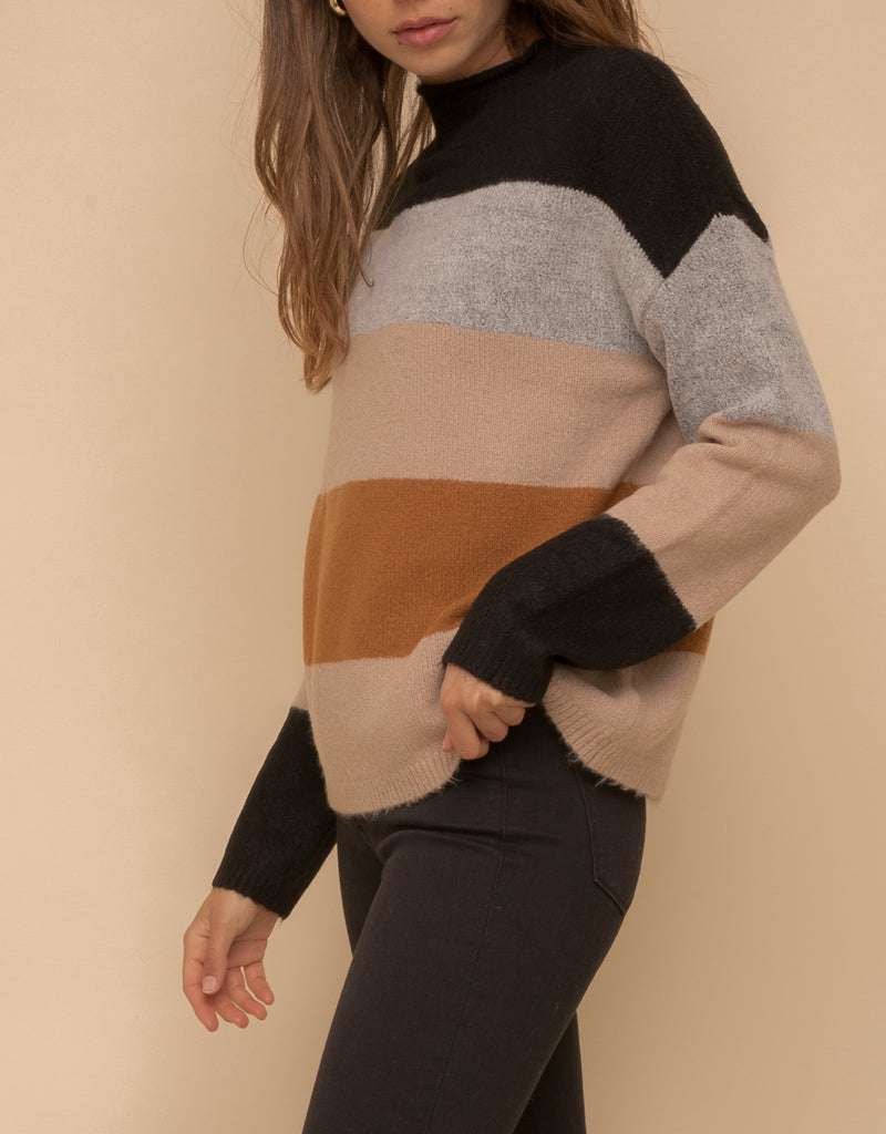 Chic and Soft Color Block Sweater