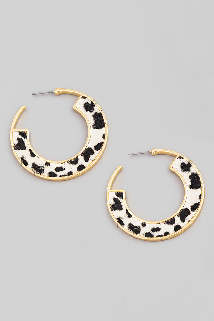 Leopard Print Hoop Earring In Black and White (Faux Fur)