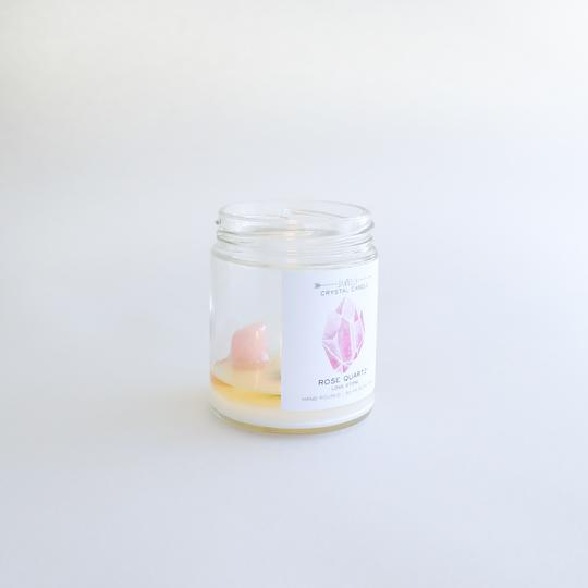 Rose Quartz Crystal Candle - Love