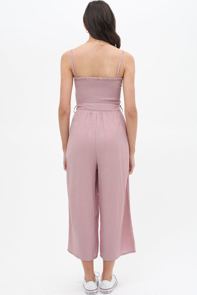 Feeling Free Denim Jumpsuit In Soft Mauve