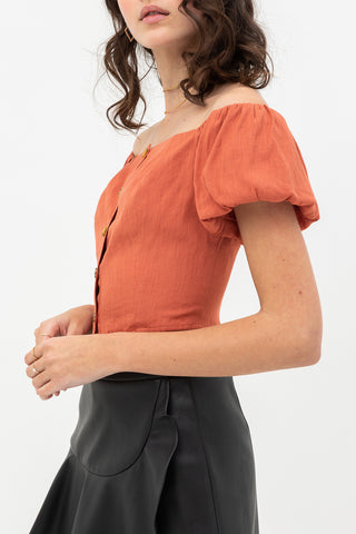 Streets Of Paris Off Shoulder Linen Top In Black