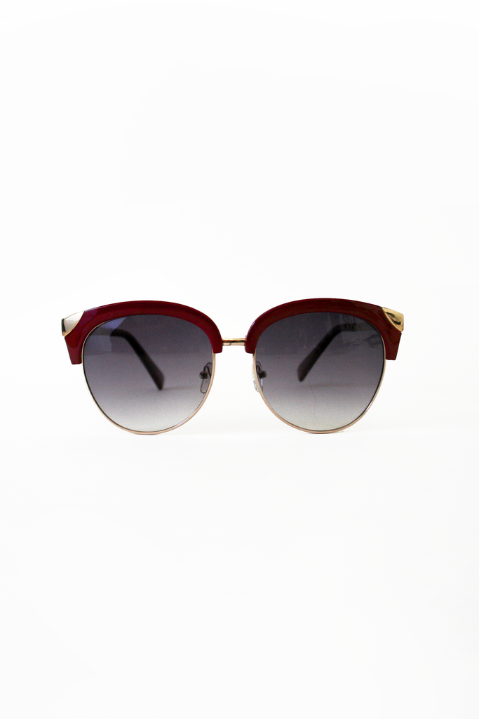 Midcentury Modern Sunglasses: Wine/Gold