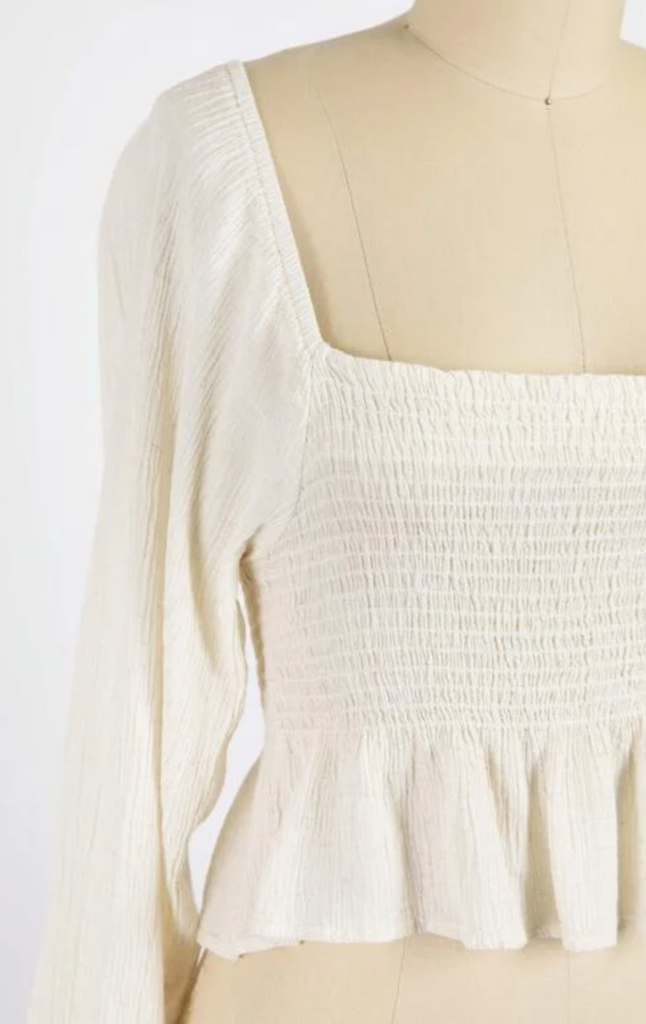 As You Wish Classic Cotton Gauze Poet Blouse In Ivory