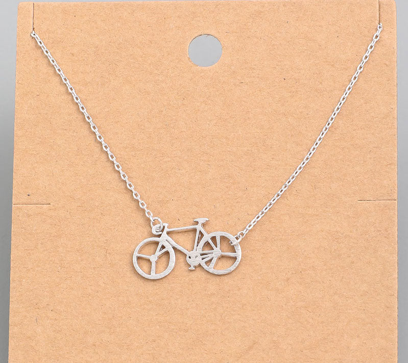 Bicycle Dainty Necklace In Silver