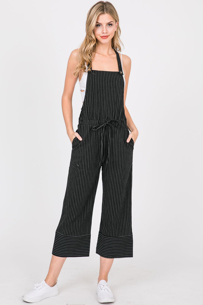 Sunrise To Sunset Striped Black Cotton Overalls