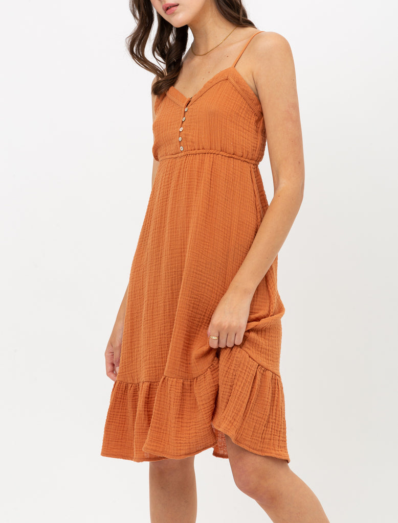 Cotton Gauze Ruffle Hem Sundress Available in Cream or Terra Cotta