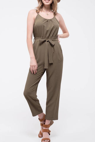 Easy Chic Tie Waist Dress In Soft Olive