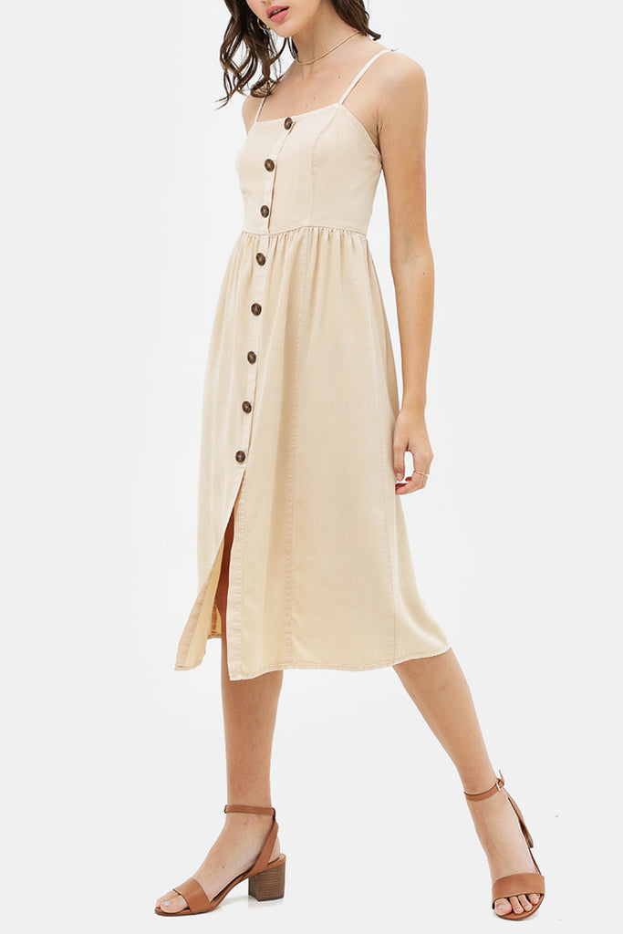The Morgan Linen Button Detailed Midi Dress
