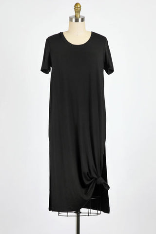Perfect Day Soft Wrap Side Tie LS Top In Black