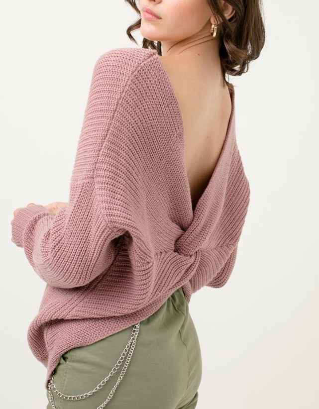Day to Day Twist Back Sweater In Mauve or Black