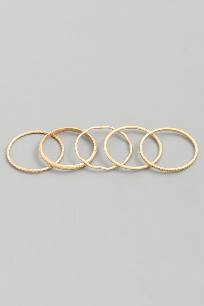 Coveted Thin Gold Stackable Ring Set (5 Pieces)